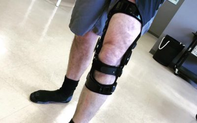 One happy client, rocking his brand new custom knee brace!
